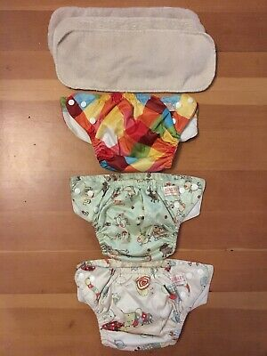 Lot Of 3 SUNBABY Snap Cloth Diapers With Inserts Bundle