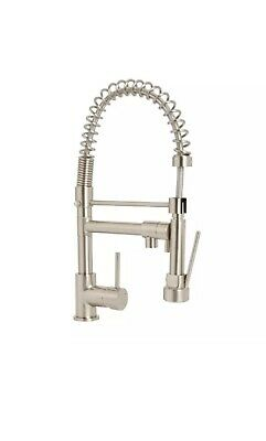 Cooke & Lewis Bilbrough Brushed Nickel Effect Side lever spring neck&spout tap
