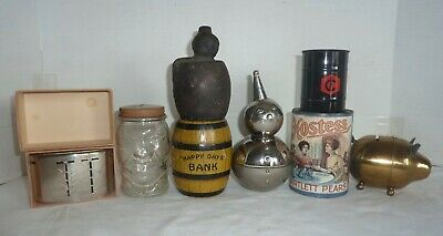 8 Vintage Still Banks Piggy Bank Hostess Traveling Teller Providences R.I.