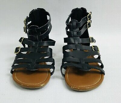 Justice Black Gladiator Sandals Girls Youth Size 2
