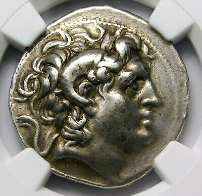 NGC Ch VF Lysimachus Tetradrachm. Portrait of Alexander the Great. Silver Coin.
