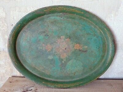 "22"" Antique 19th C. French Victorian Hand Painted Tole Metal Toleware Oval Tray"