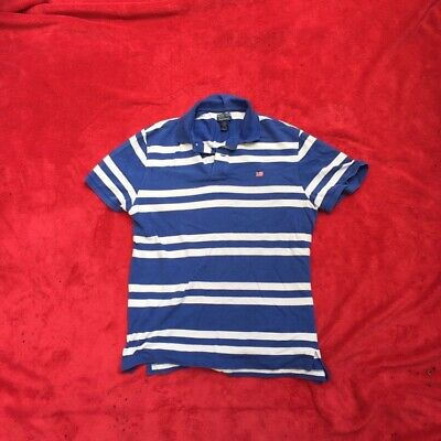 Ralph Lauren Polo Jeans Polo Shirt Size L LARGE Blue White Stripes