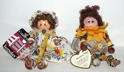lot of 2 Handcrafted Button Doll Vintage Style Hand Painted Wood Spools Folk Art