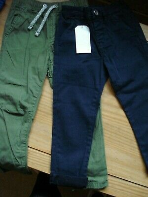 chino style trousers aged 2-3 green - George (used)  / blue - Next (bnwt)