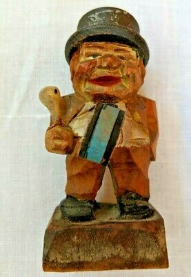 Old German Hand Carved Wood Man with drum