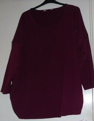 BURGUNDY self stripe maternity top plus size 30/32 USED slighly bobbly read all.