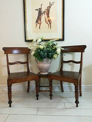 Pair William IV mahogany Hall Chairs 1830 Turned legs Solid Antique Arts & Craft
