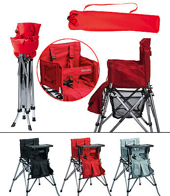 One2Stay Portable High Chair foldable for travel, camping - red, black, or grey
