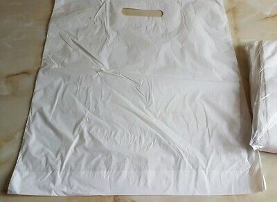 """100 White Patch Handle Carrier Gift Retail Shopping Plastic Bags 15"""" X 18"""" + 3"""