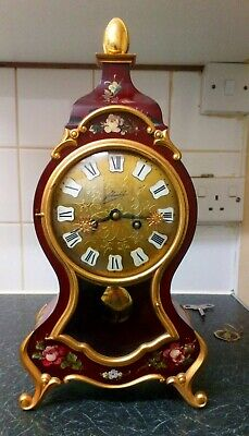 Boulle Clock Schmid Vintage Wind Up 8 Day Movemnent And Brass Pendulum Vintage