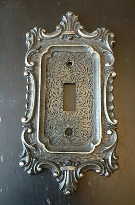 Vintage Antique Brass National Lock Single Switch Cover Plate Metal