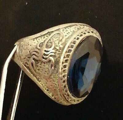 Extremely Rare Ancient Roman Ring Metal Color Silver Ring Scorpion Amazing Stone