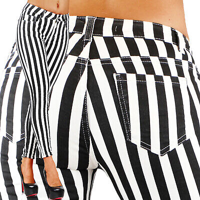 Sexy Stretchy Women's Black & White Jeans Trousers With Straps Skinny Slim M 681