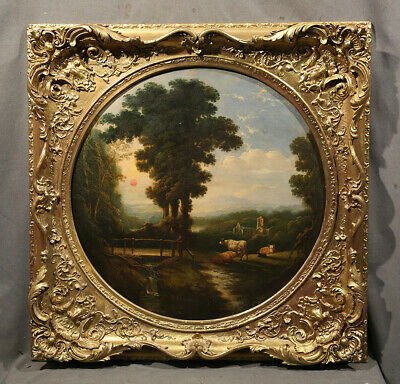 18th Century Painting Manner of Thomas Gainsborough Landscape Rare Gold Frame