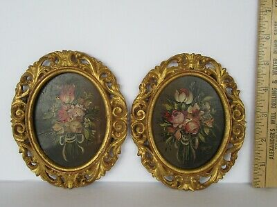 Antique Pair Italian 18th / 19th Century Floral Bouquet Oil Paintings (Signed)