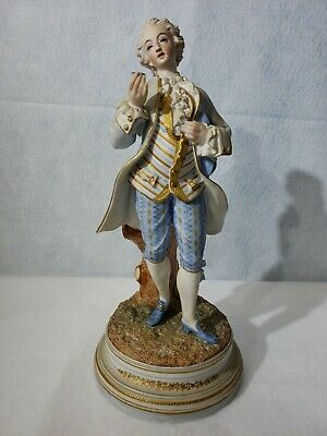 """antique french bisque victorian man statue 15"""" inches tall"""