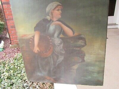 Antique 19th Century Victorian Oil Painting on Canvas, Woman Holding Basket