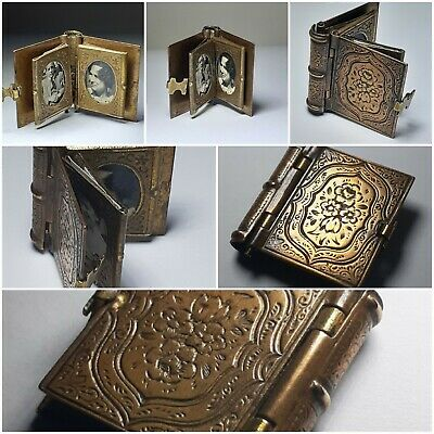 Antique Miniature Memento photo book c1900