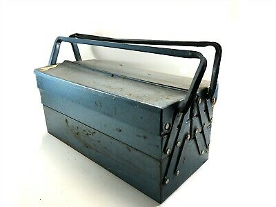 Antique Vintage Metal Fold Out Tool Storage Box Chest Old Garage Workshop (T39)
