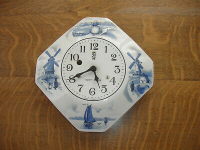 Working Blue Delft 8 Day Wall Clock Irving Miller Co. Diamond Shape