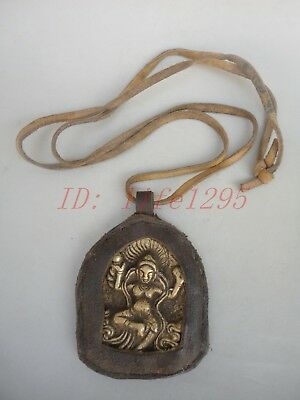 Collect Ancient China Tibet Copper Parcel Cow Leather Buddha Pendant Decoration