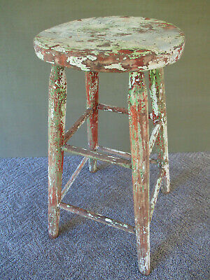 "Antique Stool Primitive Vintage Pine Wood 24"" Tall 11"" Seat, Shabby Chic, Paint"