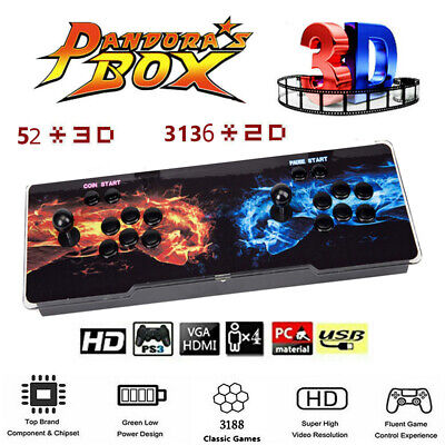 USA Pandora's Box 12S 3188 Games 2D/3D video games Home/Two-player Console Hot