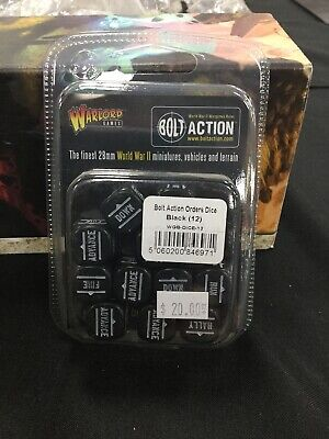 Bolt Action Orders Dice Black (12)
