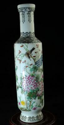 Chinese Old Hand-Made Pastel Porcelain Hand Painted Birds And Flowers Vase B02
