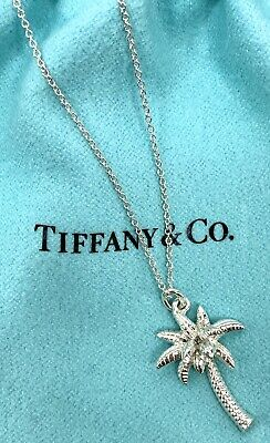 """Tiffany & Co. Sterling Silver 925 Palm Tree Pendant 18"""" Necklace Box Pouch"""