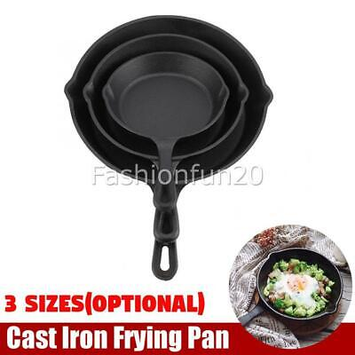 3 SIZE Cast Iron Skillet Fry Pans Frying Pan Pre Seasoned Oven Safe Cooktop BBQ