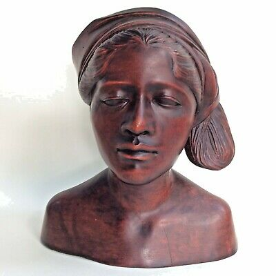 Vintage Figurine Bust Balinese Woman Carved Wood Indonesian Handcrafted Art