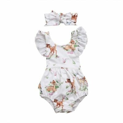 Fashion Newborn Toddler Infant Baby Girls Deer Ruffles  Romper Jumpsuit Outfits