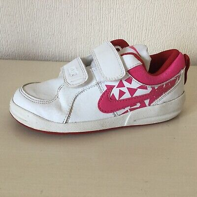 Girls *NIKE* Trainers UK 10 EUR 27.5 White & Pink Good Clean Used Condition