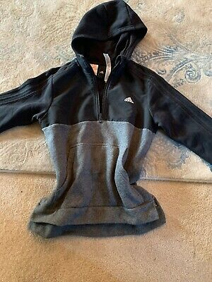Adidas Boys Girls Grey Black Hoodie Zip Sweatshirt Tracksuit Top Age 13-14