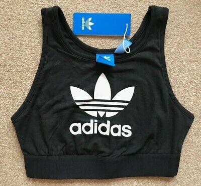 ADIDAS TREFOIL crop top SIZE uk 8 12 BLACK white BNWT