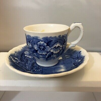 Trellis Grindley Blue And White Dematisse Cup/Saucer Set