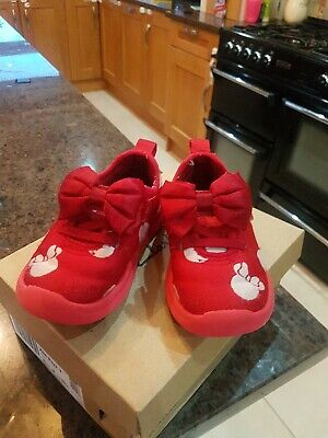 Clarks Girls Shoes Trainers Size 5F Minnie Mouse Red