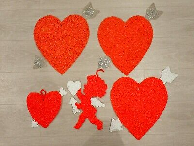 Lot of 5 Vintage Melted Plastic Popcorn Valentine Decorations Cupid Heart