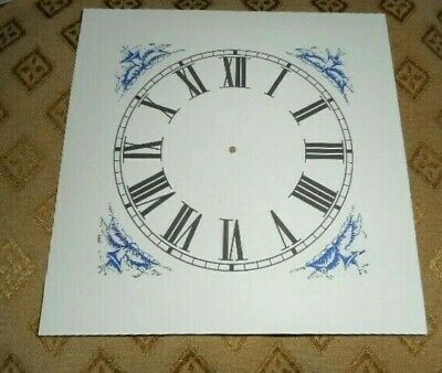 "Mantle/Shelf Paper (Card) Clock Dial-5"" M/T- Blue Corner Design-MATT IVORY-Parts"