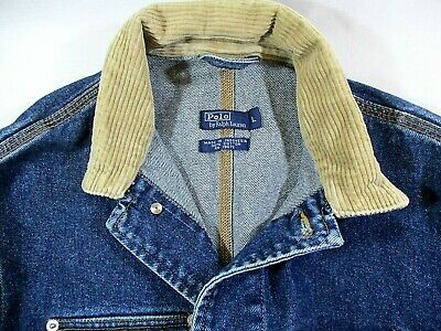 Designer Denim Trucker Jacket~Polo By Ralph Lauren~Corduroy Collar~Men's M-L~EUC