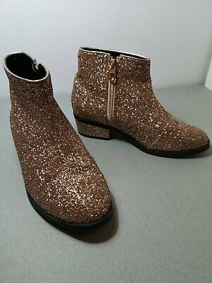 Girls Ted Baker Rose Gold Glitter Ankle boots size uk 1 eur 33 pre owned