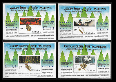 Canada -Set of 4 Miniat. Panes of 4 in Covers -Majestic Forests #1283a-86b -MNH