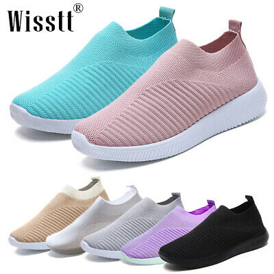 Womens Casual Sock Mesh Shoes Trainers Flat Slip On Comfy Pumps Sneakers Outdoor