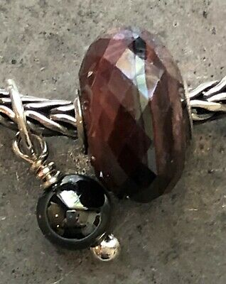 Authentic Trollbeads Sterling & Faceted Red Tigers Eye Stone Bead Charm