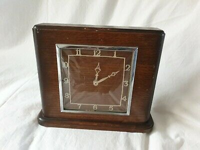 John  Francis Vintage Wooden Mantle Clock, Wind Up, Made in England.