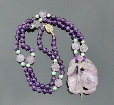 Vintage Chinese Hand Carved Amethyst Shou Beads Necklace Peach Pendant 24""