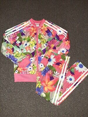 Adidas Girls Kids Floral Tracksuit Top And Bottoms Age 7-8 Years