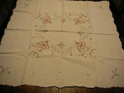 Vintage Table Cloth Square  Emboided Flowers